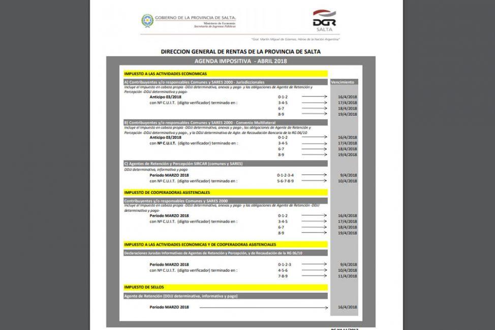 Rentas informa los vencimientos impositivos de abril