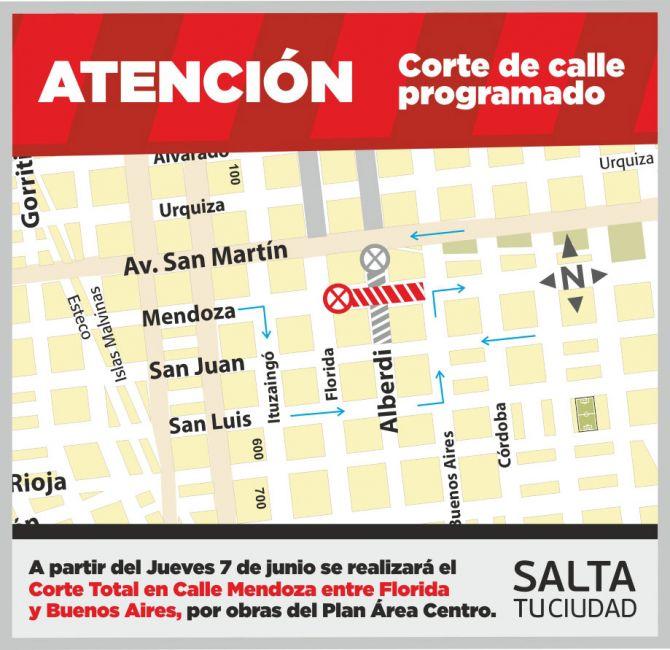 Atención: corte de tránsito en Mendoza, entre Florida y Bs As