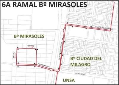 Saeta dispuso el nuevo servicio 6A ramal Mirasoles.