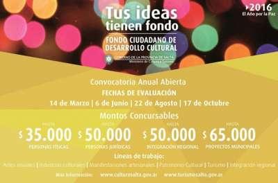 Se lanzará mañana el Fondo Ciudadano de Desarrollo Cultural y Turístico 2016.