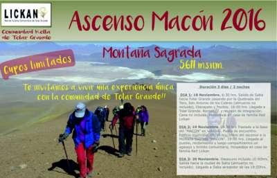 """Se realizará el """"Ascenso a la Montaña Sagrada Macón"""""""