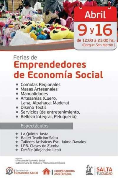 Emprendedores sociales expondrán sus productos en el Parque San Martín