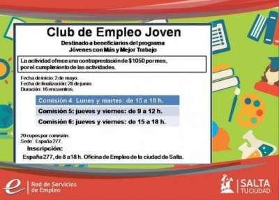 Comenzaron las inscripciones para las comisiones del Club Empleo Joven
