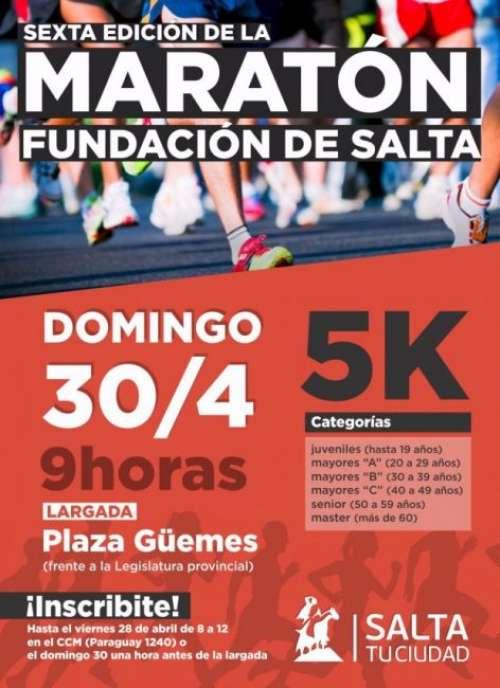 Mañana Domingo se realiza la Maratón de la Fundación de Salta
